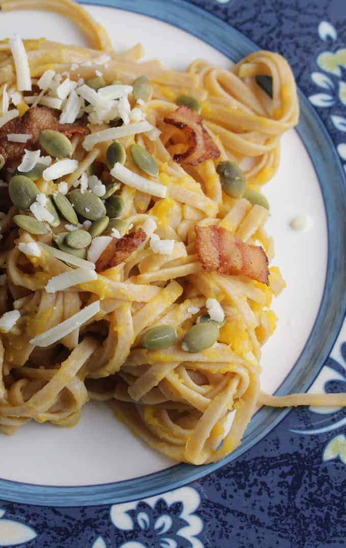 Pasta with Creamy Butternut and Bacon for a tasty fall #SundaySupper