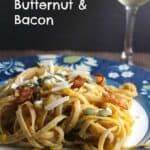 Pasta with Creamy Butternut & Bacon makes for a tasty #SundaySupper | cookingchatfood.com