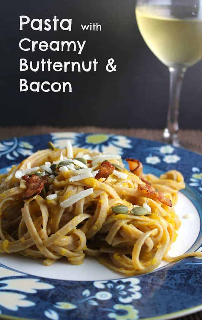 Pasta with Creamy Butternut & Bacon recipe makes for a tasty dinner.