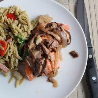 Salmon with Shiitake Mushroom Sauce makes a simple yet elegant meal   cookingchatfood.com