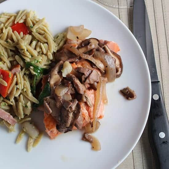 Salmon with Shiitake Mushroom Sauce makes a simple yet elegant meal | cookingchatfood.com