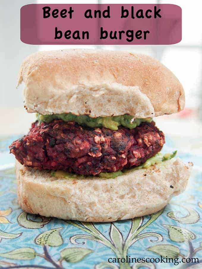 Beet and Black Bean Burger from Caroline's Cooking.