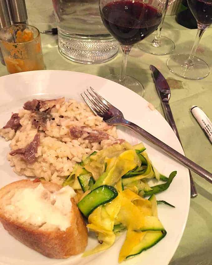 duck confit risotto with wine from Cahors.