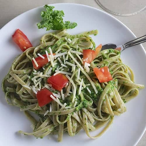 linguine with kale pesto for a delicious way to get a healthy green on your plate   cookingchatfood.com