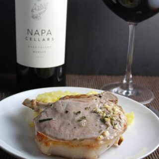 #MerlotMe Wine and Roasted Rosemary Pork Chops