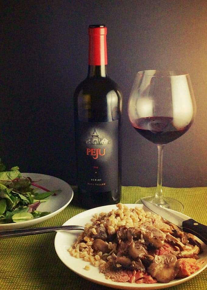 Peju Merlot with Spoon Roast