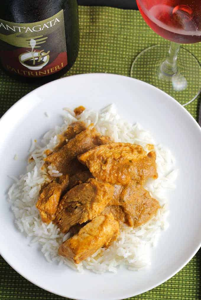 Quick Chicken Tikka Masala with Wine Pairing, made with tasty masala gravy from India in a Box.
