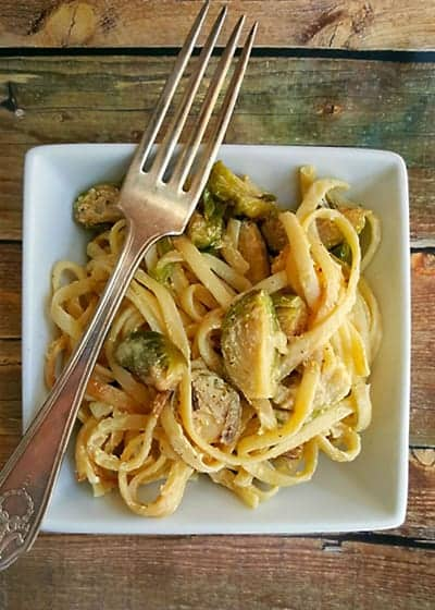 Roasted Brussels Sprouts Carbonara from A Kitchen Hoors Adventures