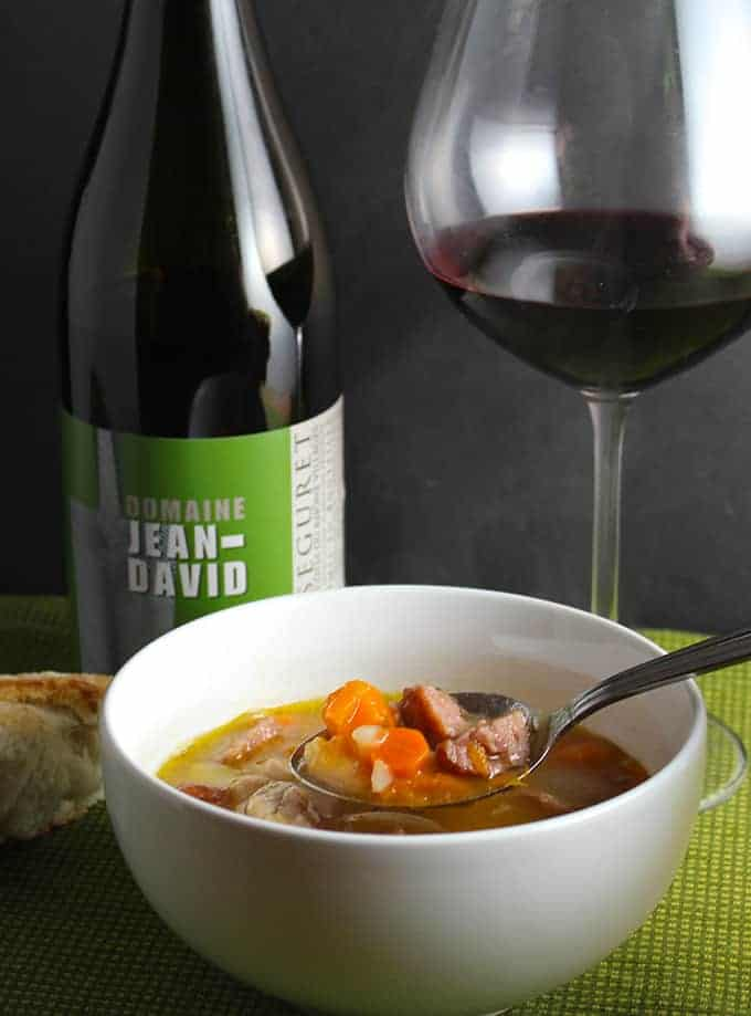 Rustic Chicken and Sausage Stew pairs well with a Cotes du Rhone wine.