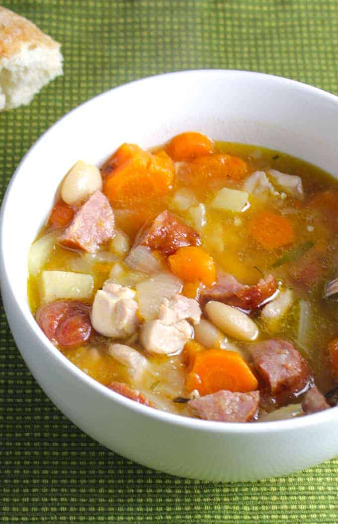 Rustic Chicken and Sausage Stew, a hearty meal for the cold weather. Pair it with a red wine. Cheers!