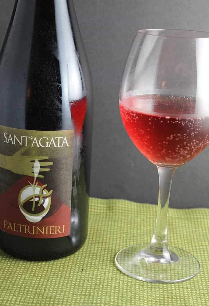 Sant' Agata Paltrinieri Lambrusco, a good value Italian wine that pairs well with Indian food.