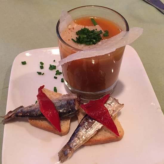 sardines served with piquillo peppers and gazpacho
