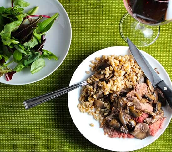 Spoon Roast with Mushrooms and Farro served with a green salad | cookingchatfood.com