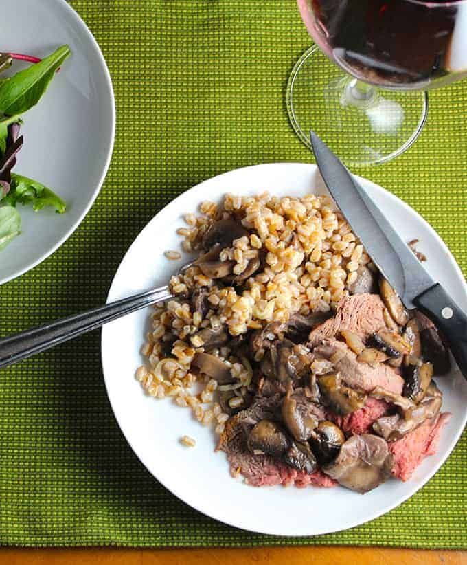 Spoon Roast with Mushrooms and Farro, a healthy beef recipe for #SundaySupper.