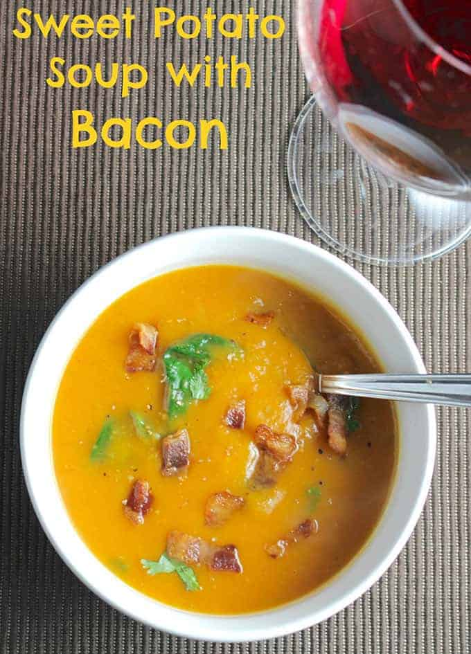 Sweet Potato Soup with Bacon, a touch of spice to go along with sweet potato and savory bacon. A great warming #SundaySupper! | cookingchatfood.com