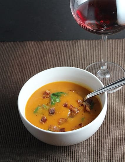 sweet potato soup with bacon and a PInot Noir.