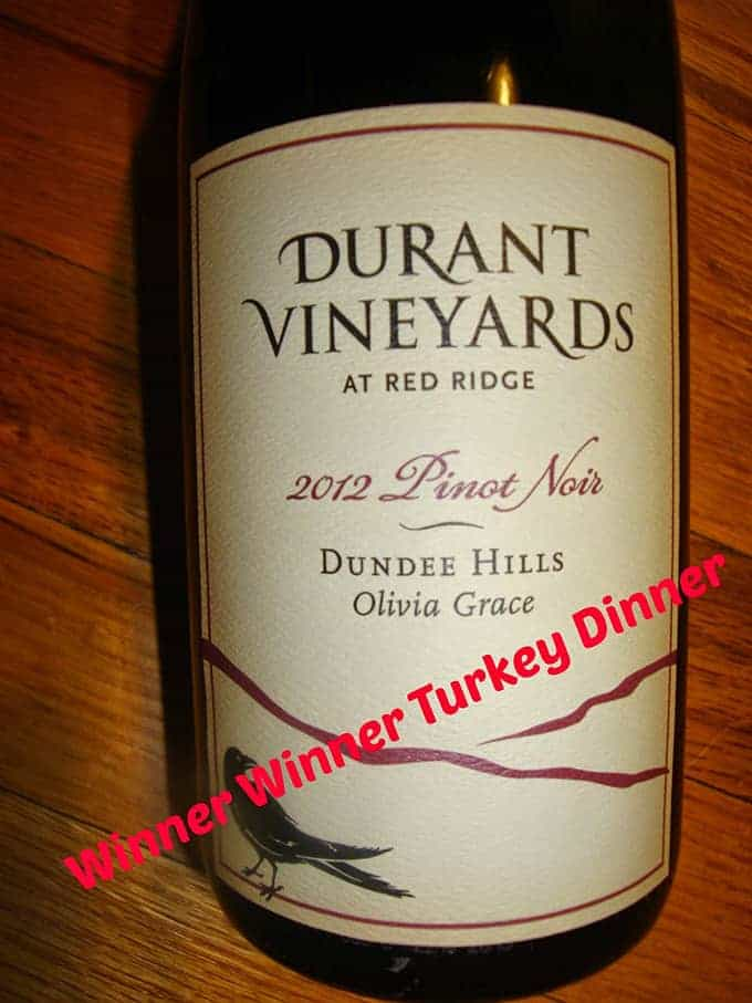 Durant Vineyard Pinot Noir, a Tasting Pour Thanksgiving Wine Pick from Tasting Pour, in cookingchatfood.com roundup.