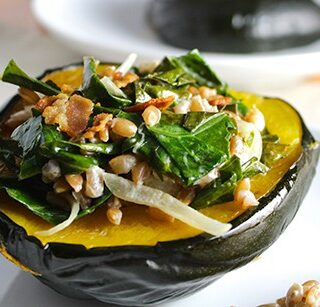 Acorn Squash with Farro and Collards, one of the recipes featured in the Collards & Kale ebook | cookingchatfood.com