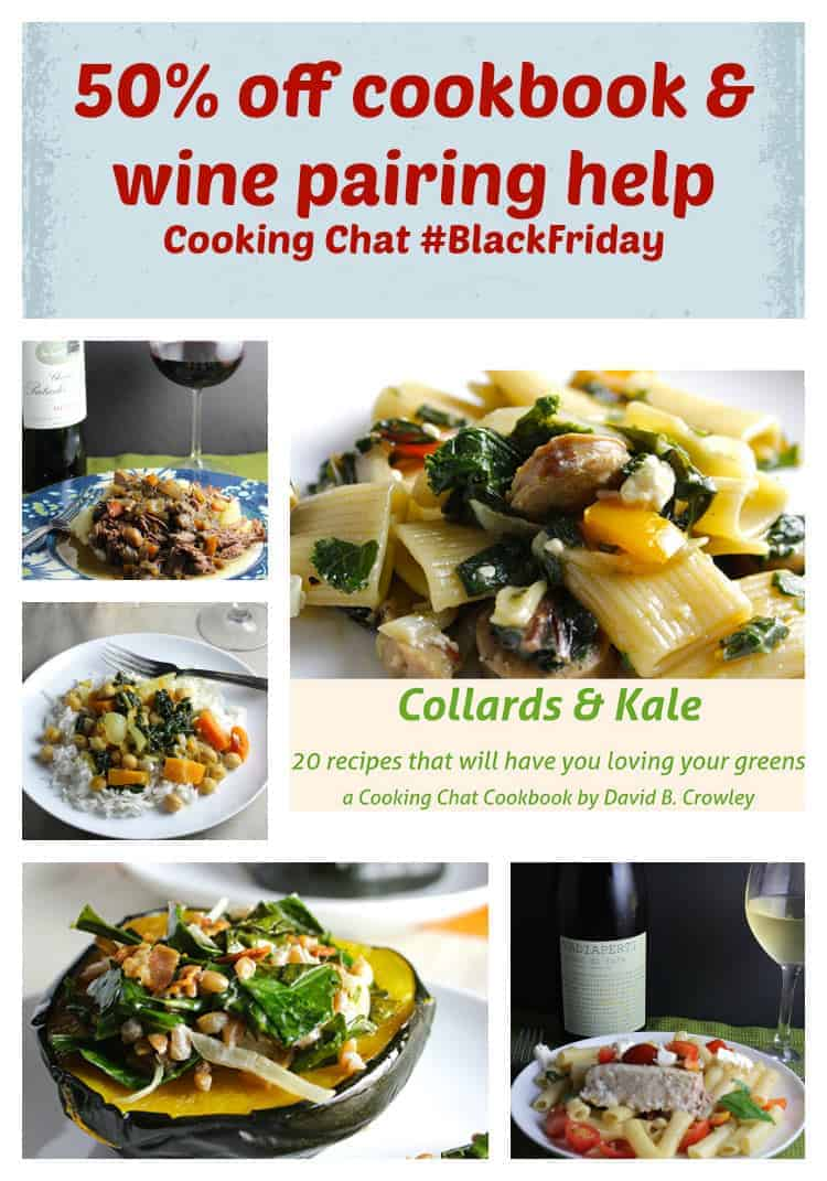 half priced cookbook and wine pairing help from cookingchatfood.com