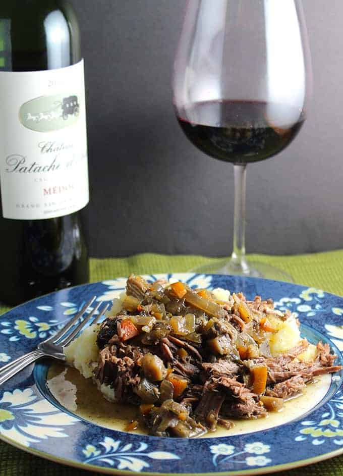 Bordeaux Braised Beef, fall-apart, flavorful meat, delicious served over mashed potatoes. With a Bordeaux, of course! | cookingchatfood.com