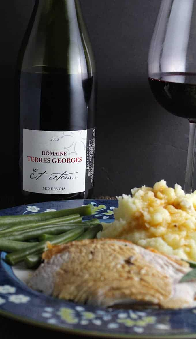 Domaine Terres Georges is a very nice wine from the Languedoc, pairs well with herb roasted turkey.