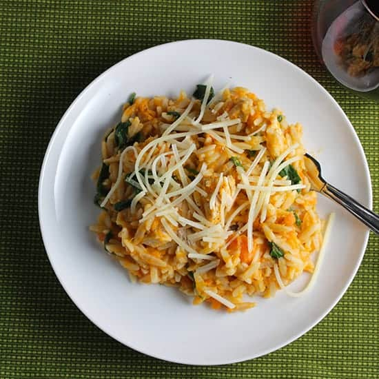 Orzo with Leftover Turkey and Sweet Potatoes is a good way to use up leftover turkey | cookingchatfood.com