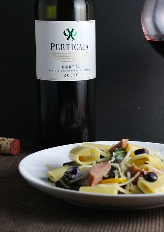Perticaia red wine blend from Umbria is a great value that pairs well with a variety of pasta dishes. | cookingchatfood.com