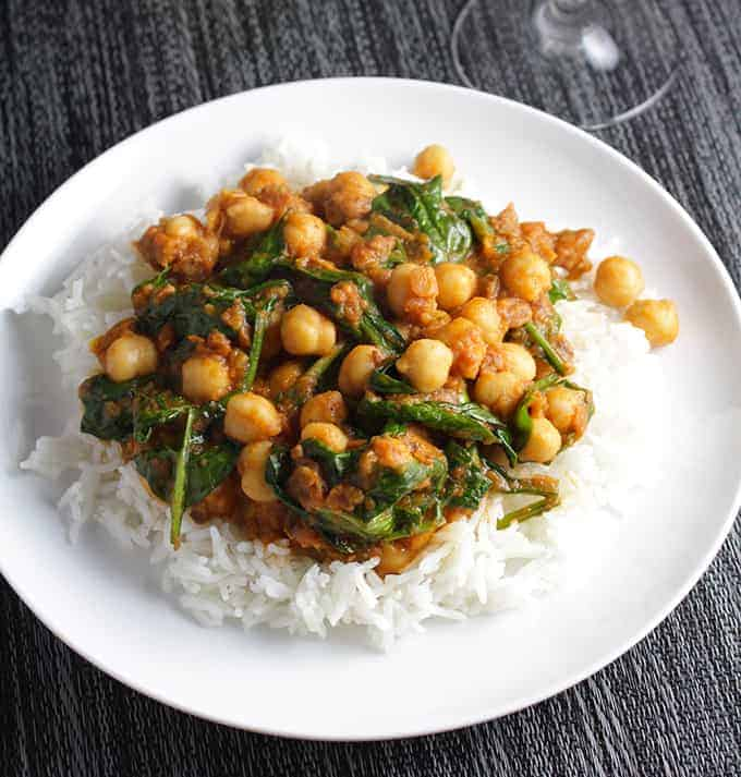 Quick Indian Spinach and Chickpeas makes a quick, tasty meal.