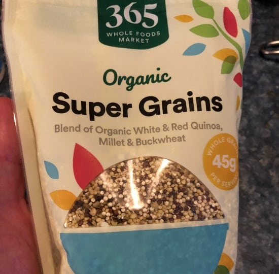 package of super grain mix from Whole Foods.