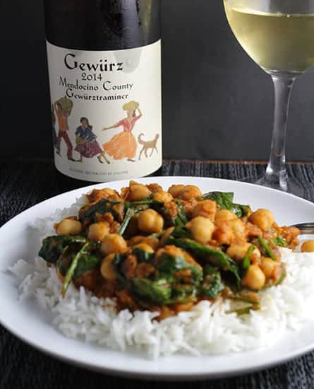 A Gewürztraminer can be a good wine choice for spicy Indian food, though I'd recommend one with a bit more sweetness than this bottle.