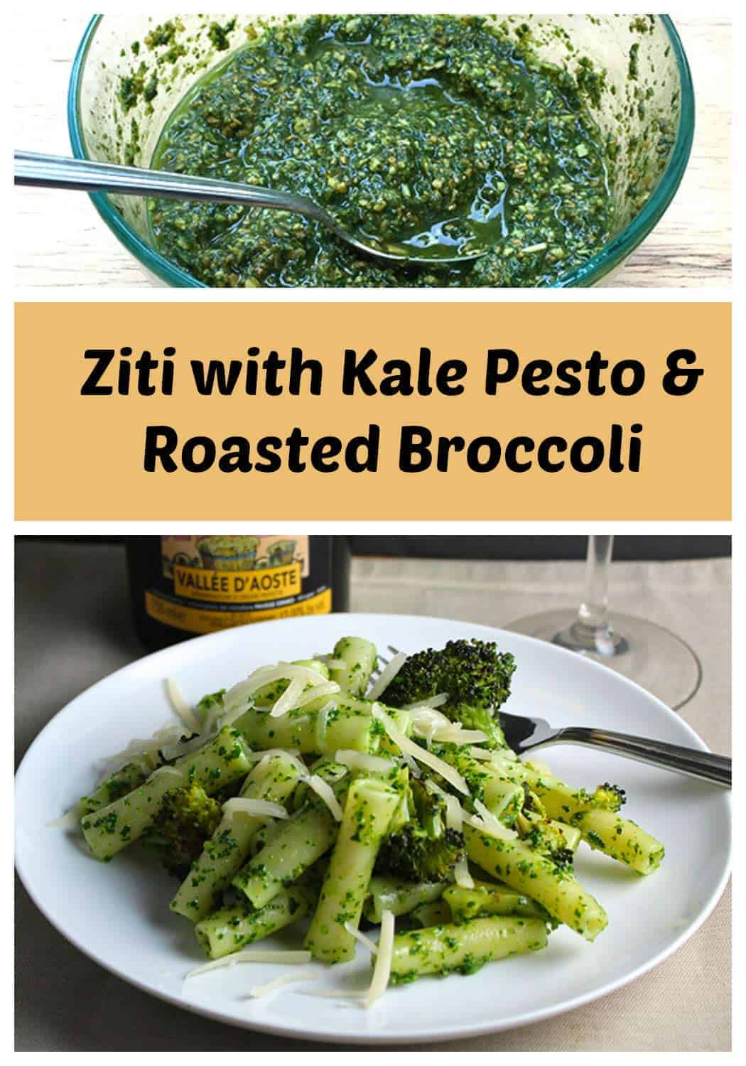 Ziti with Kale Pesto & Roasted Broccoli is a delicious and healthy pasta recipe.