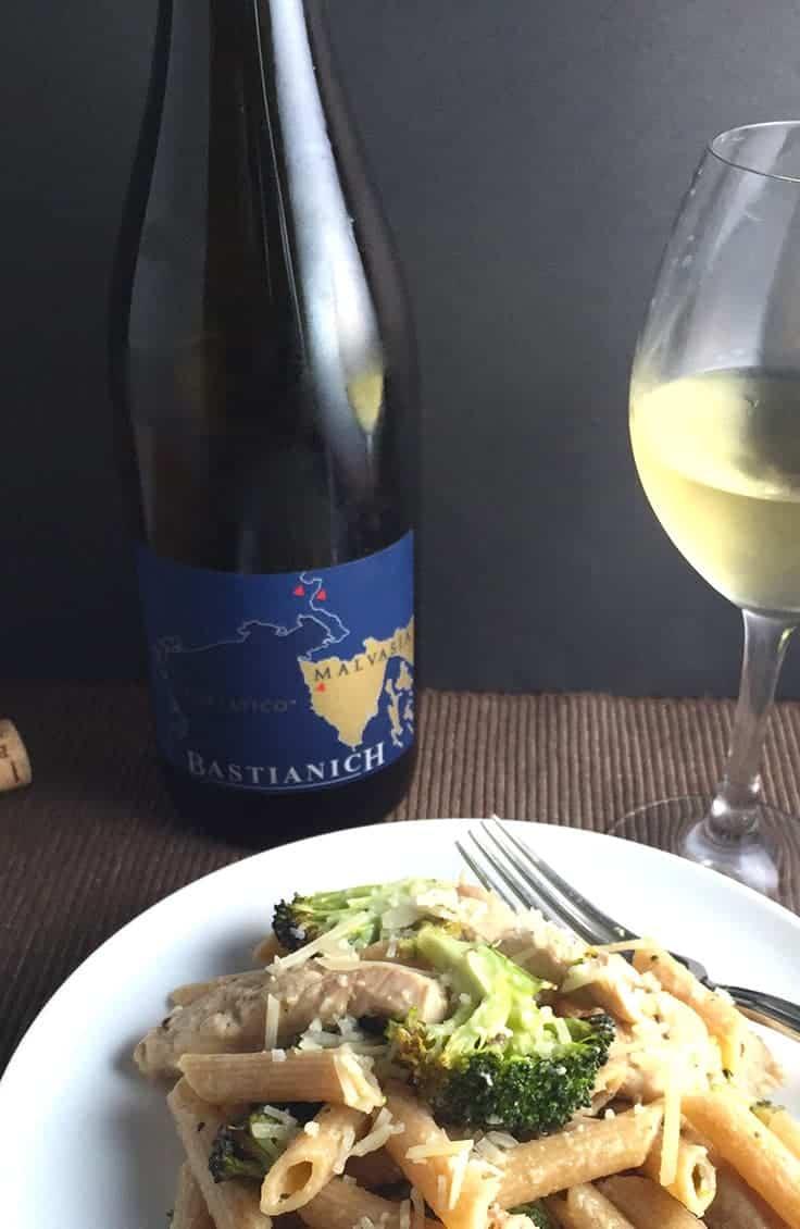 2013 Bastianich Malvasia pairs well with chicken and broccoli pasta