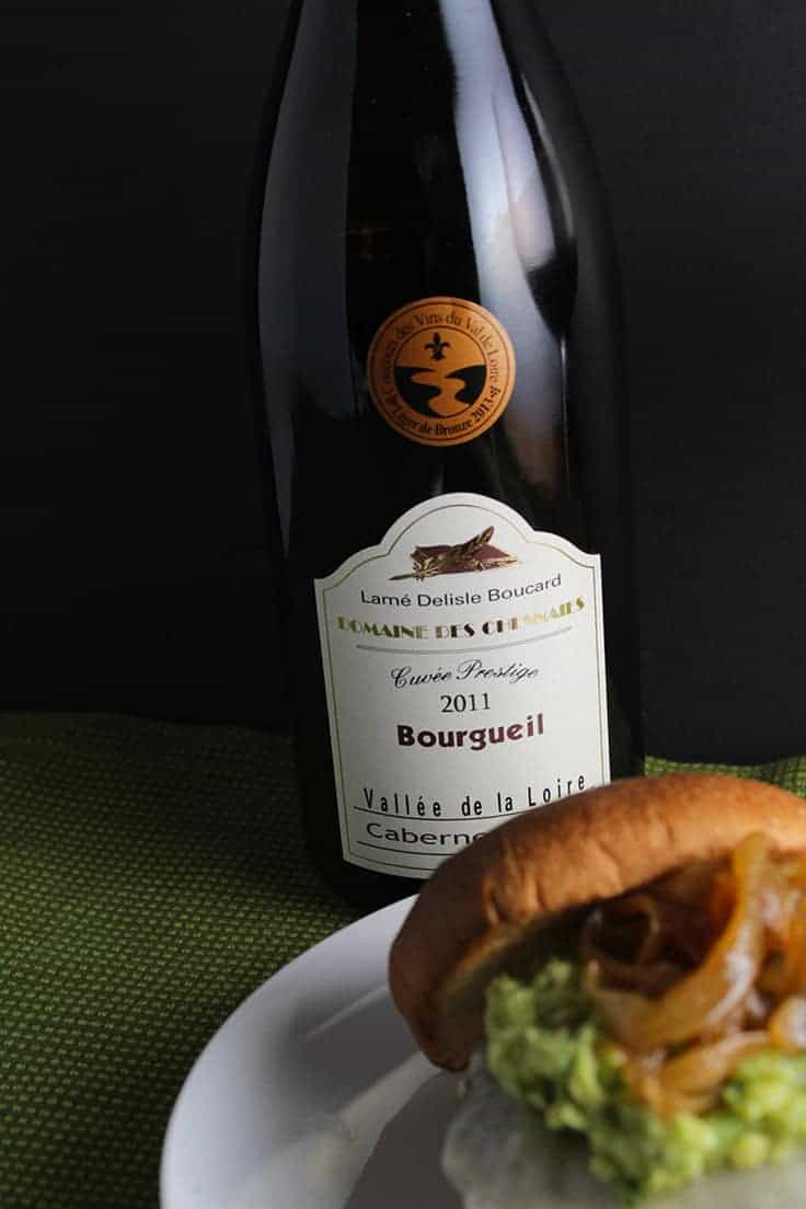 2011 Domaine Des Chesnaies Lame Delisle Boucard Bourgeil Cabernet Franc is a food friendly wine from the Loire, and pairs well with a Guacamole Cheeseburger.