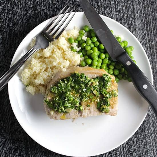 Cilantro Pesto Pork Chops recipe, easy to make for a weeknight meal.