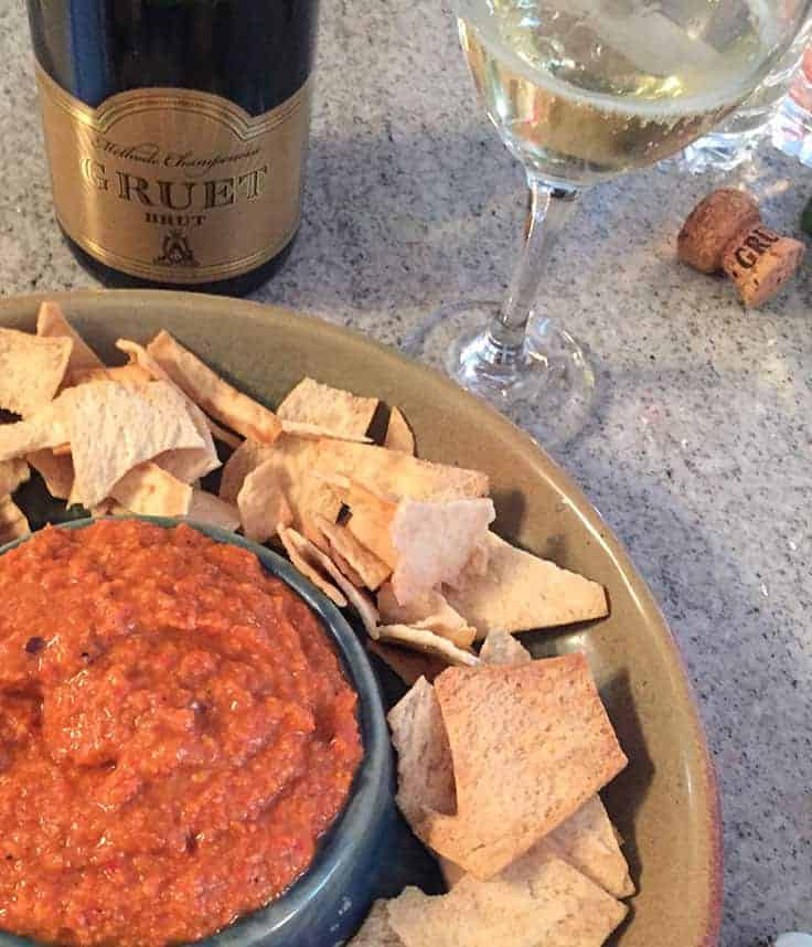 NV Gruet Brut sparkling wine from New Mexico is an affordable alternative to Champagne. Pairs nicely with aged cheddar and Gruyere cheese and other appetizers.