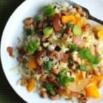 black eyed peas bring luck and plenty of flavor in this healthier hoppin' john recipe.