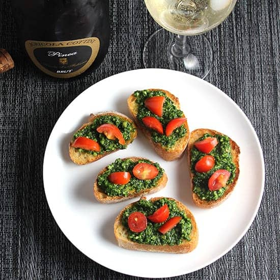 Kale Pesto Crostini wine pairing: kale pesto crostini recipe pairs very well with a good sparkling wine.
