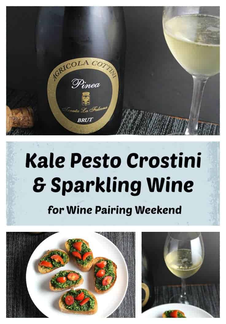 Kale Pesto Crostini Wine Pairing is a delicious holiday appetizer recipe paired with a sparkling wine for a festive holiday gathering!