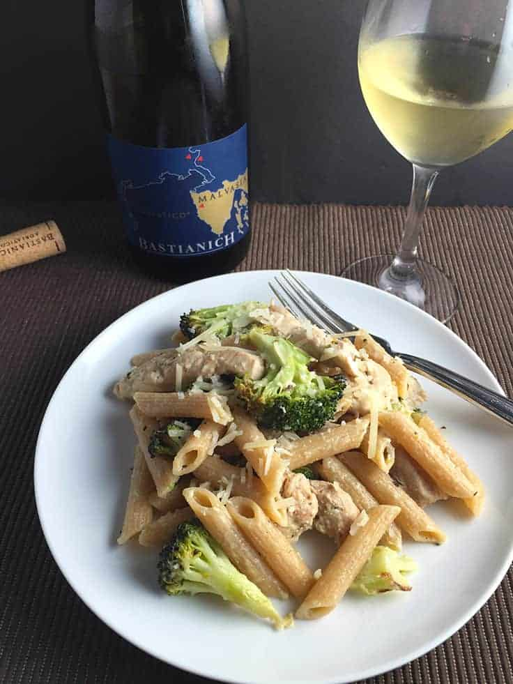 Lightened Chicken and Broccoli Pasta recipe delivers the garlicky goodness of the Italian classic without all the calories! Pairs well with an Italian white wine.