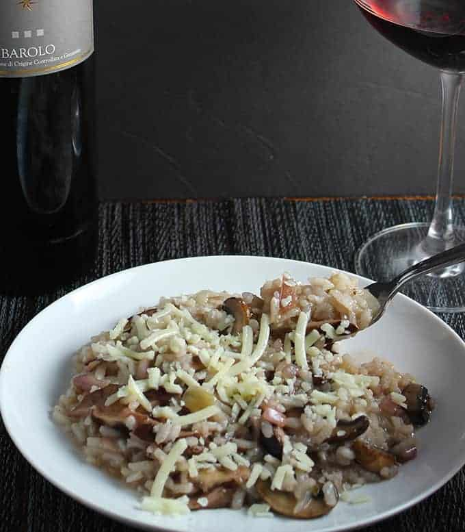 mushroom risotto is great comfort food, paired with a Barolo makes it even better!