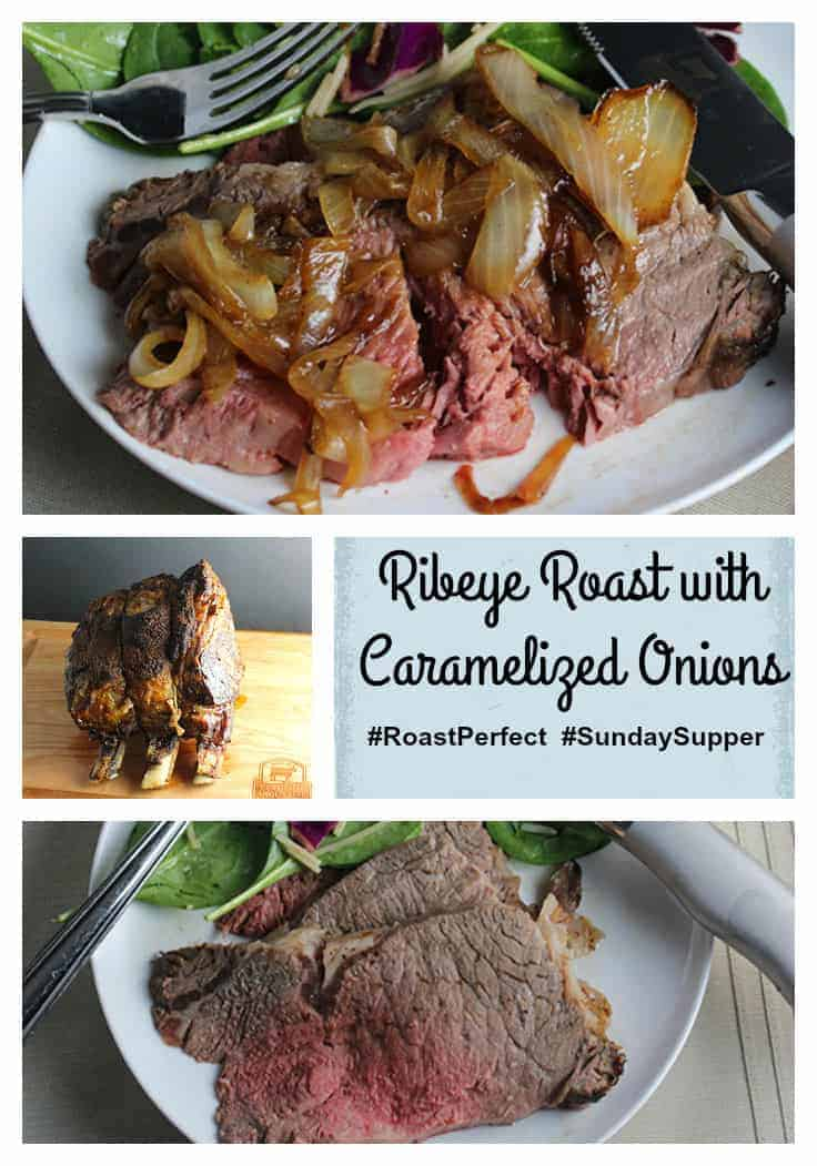 Spiced Ribeye Roast with Caramelized Onions makes a delicious holiday #SundaySupper meal, featuring Certified Angus Beef® cooked just right with the #RoastPerfect app.