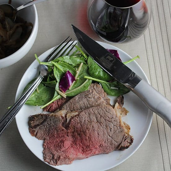 Ribeye Roast cooked just right using the Certifed Angus Beef RoastPerfect app.