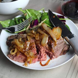Spiced Ribeye Roast with Caramelized Onions #RoastPerfect #SundaySupper