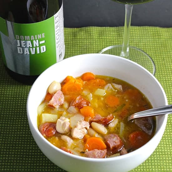 Rustic Chicken and Sausage Stew has the heartiness we crave as the weather gets cold! Pair it with a Cotes du Rhone wine. From Cooking Chat winter wine pairing roundup.