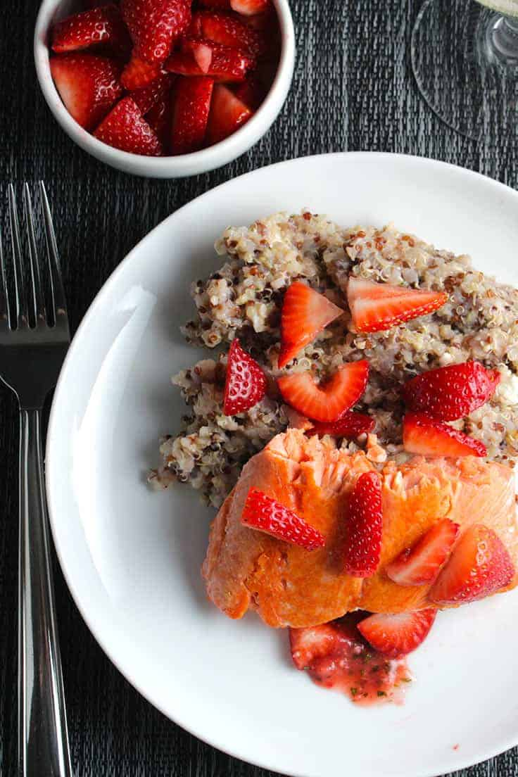 Quinoa with Salmon and Strawberries recipe is a creative and flavorful way to enjoy healthy fresh strawberries and salmon.
