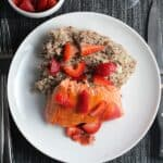 quinoa with salmon and strawberries.