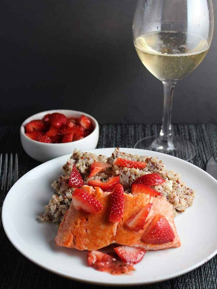 Quinoa with Salmon and Strawberries recipe is so good served with a glass of Champagne!