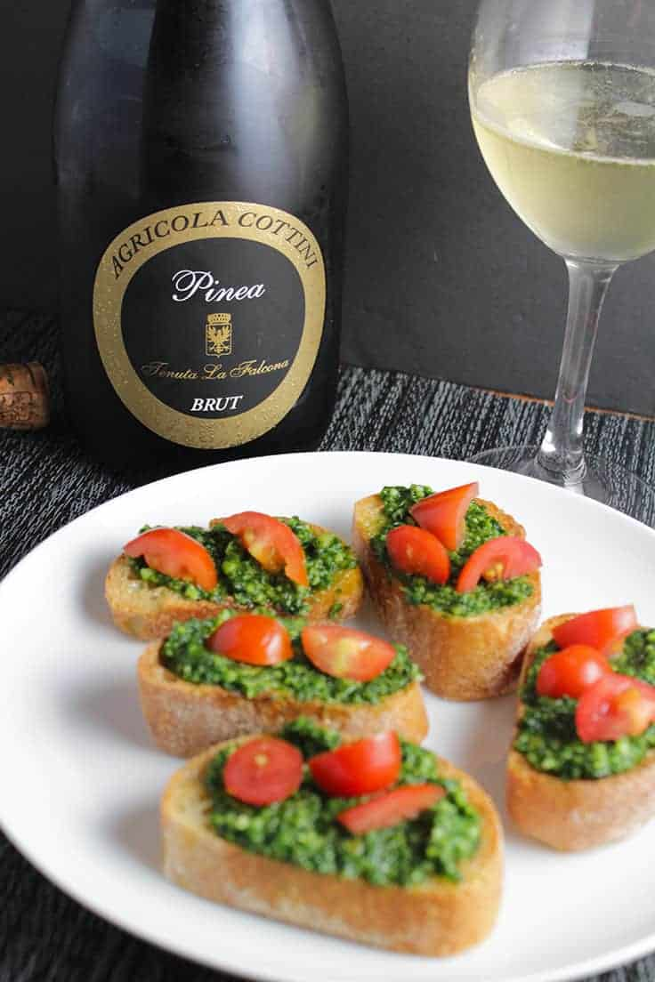 Agricola Cottini Tenuta La Falcona Pinea Brut Sparkling Wine is a great choice for the holidays, and pairs well with Kale Pesto Crostini.