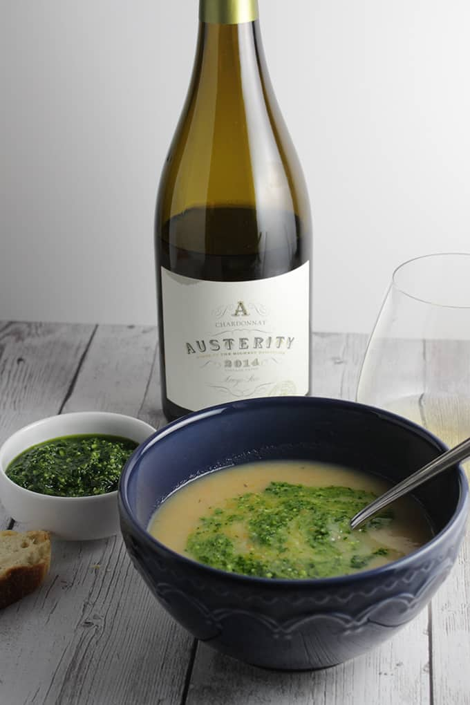 Austerity Chardonnay is a great value from California. Pairs nicely with a potato soup recipe.