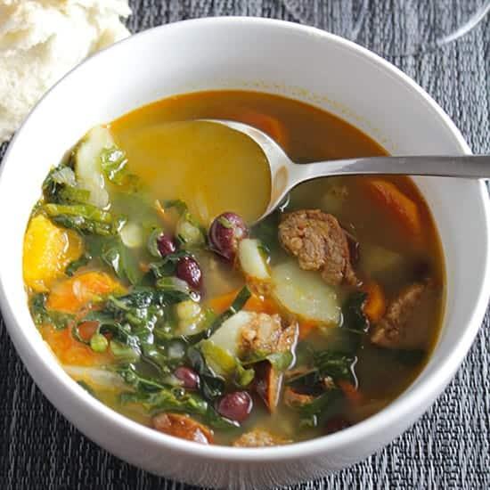 digging into the best Portuguese Kale Soup.